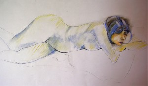 LARA WITH BLUE PENCIL PASTEL ON PAPER 2004